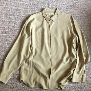 Mustard men's long sleeve silk shirt